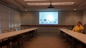 Single wall projection display in conference room