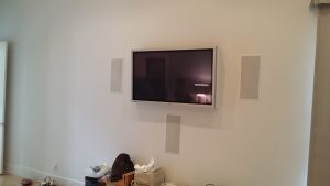 flush tv and speaker display
